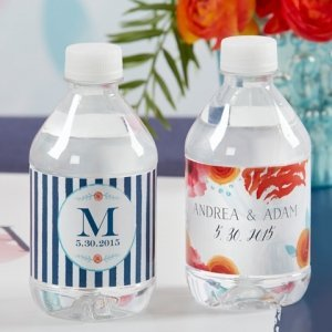 Personalized Botanical Design Water Bottle Labels image