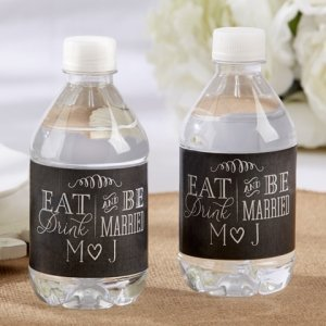 Personalized Eat Drink & Be Married Water Bottle Labels image