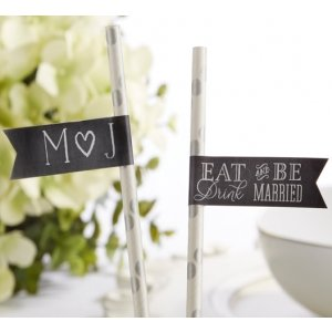 Personalized Eat Drink & Be Married Party Straw Flags image