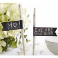 Personalized Eat Drink & Be Married Party Straw Flags