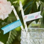 Personalized Boho Party Straw Flags (Set of 25)