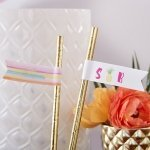 Personalized Pineapples and Palms Party Straw Flags