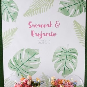 Personalized Pineapples and Palms Watercolor Backdrop image