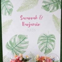 Personalized Pineapples and Palms Watercolor Backdrop