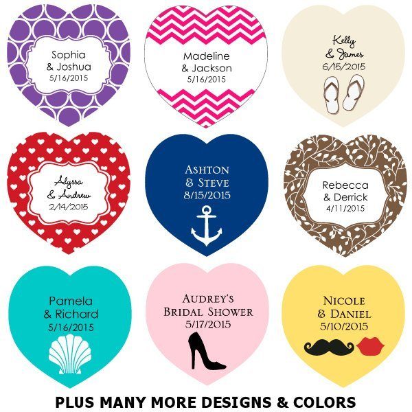 Wedding Favor Tags Heart Shaped : Heart-Shaped Personalized Wedding Favor Tags (Set of 36)