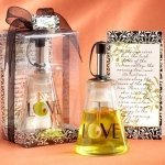Glass LOVE Bottle Olive Oil Wedding Favors