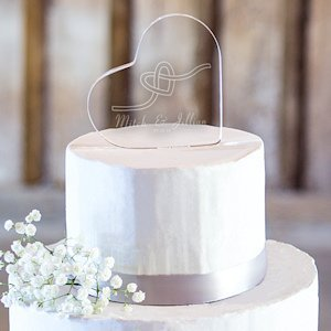 Personalized Tie the Knot Acrylic Heart Cake Topper image