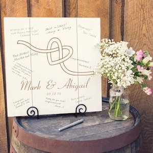Personalized Tie the Knot Wood Art Guest Book Alternative image
