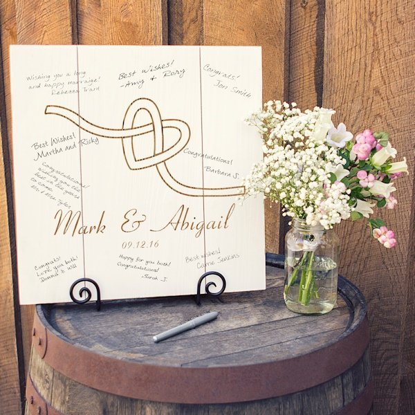 Alternative Gifts For Wedding Party : Personalized Tie the Knot Wood Art Guest Book Alternative