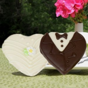 Bride & Groom Chocolate Dipped Heart Cookie Favors image