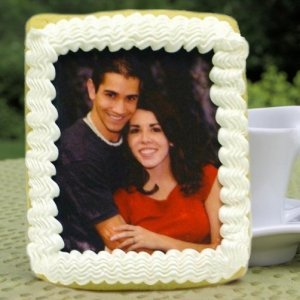 Rectangular Wedding Iced Photo Cookie Favors image