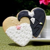 Bride and Groom Double Heart Cookie Favors