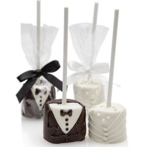 Bride & Groom Hand-Dipped Wedding Marshmallow Pops image