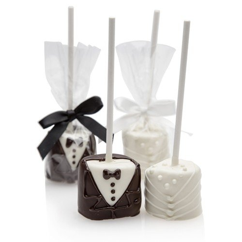 Bride Groom Hand Dipped Wedding Marshmallow Pops