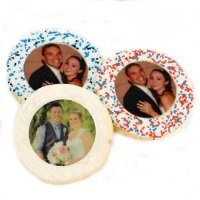 Round Photo Wedding Sugar Cookies