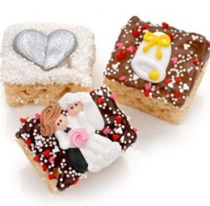 Wedding Chocolate Dipped Krispie Rice Bars image