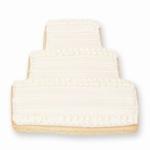 White Wedding Cake Cookie Favor image
