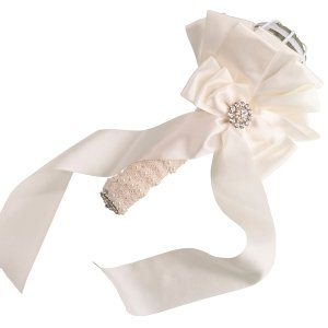 Satin Bouquet Holder - Ivory or White image