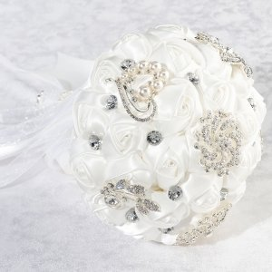 Crystal Flower Bouquet - White or Ivory image