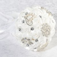 Crystal Flower Bouquet - White or Ivory