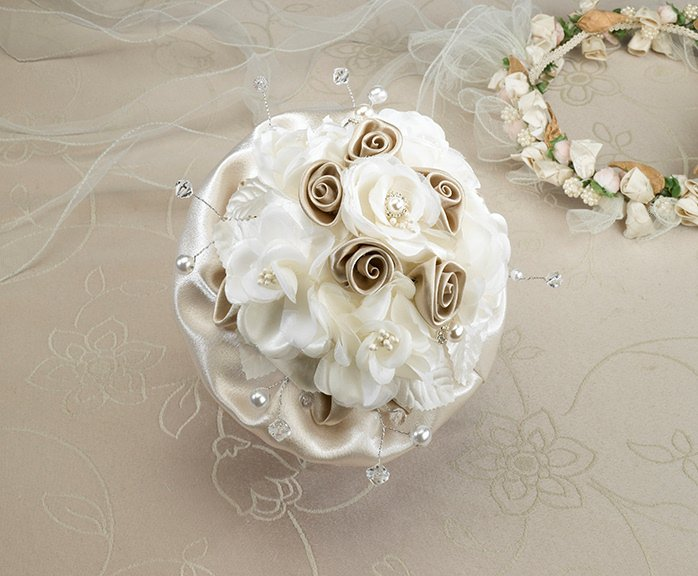 Wedding Flowers Artificial Australia : Taupe rose bridal bouquet