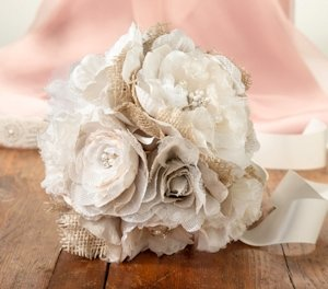 Burlap and Lace Bouquet image