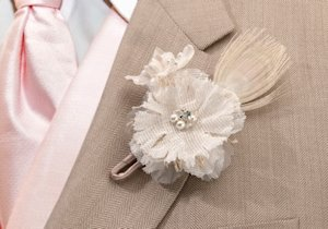 Burlap and Lace Boutonniere image