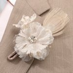 Burlap and Lace Boutonniere