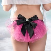 Bridesmaid Pink Swimsuit Fanny Veil