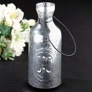 Silver Bottle Tealight Holder image