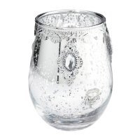 Jeweled Silver Glass Candle Holder