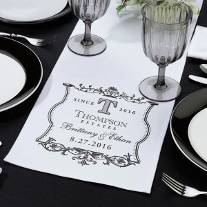 White Canvas Table Runner (5 Design Options) image