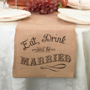 Eat- Drink and Be Married Burlap Table Runner image