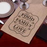 Food Family & Love Burlap Table Runner