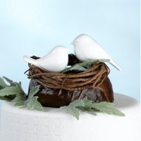 Love Birds White Cake Pick