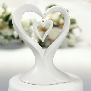 Porcelain Double Heart Cake Topper image