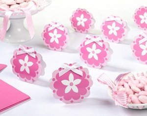 Pink Flower Favor Boxes (Set of 12) image