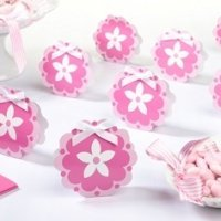 Pink Flower Favor Boxes (Set of 12)