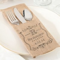 Burlap Wedding Silverware Holder (Set of 4 - 4 Designs)