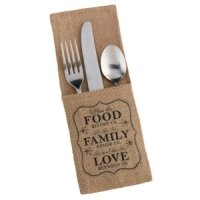 Food & Family Burlap Silverware Holders (Set of 4)