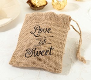 'Love is Sweet' Burlap Favor Bags (Set of 4) image