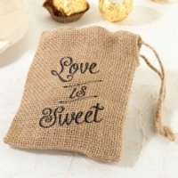'Love is Sweet' Burlap Favor Bags (Set of 4)