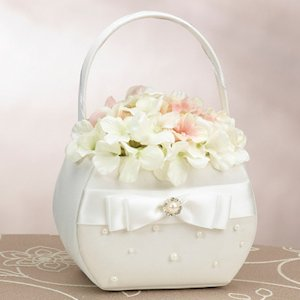Scattered Pearl Ivory Flower Girl Basket image