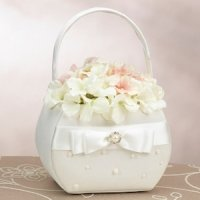 Scattered Pearl Ivory Flower Girl Basket