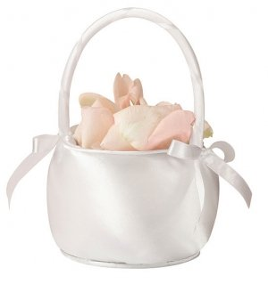 White Simply Satin Flower Basket image