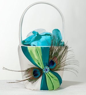 Peacock Flair Flower Girl Basket image