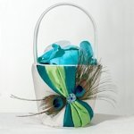 Peacock Flair Flower Girl Basket