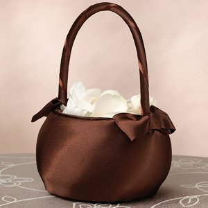 Brown Satin Flower Girl Basket image