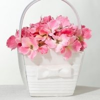 White Bow Pleated Silk Flower Girl Basket