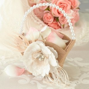 Burlap and Lace Flower Girl Basket image